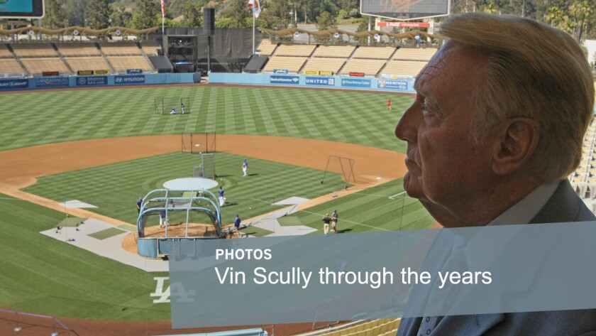 Dodgers broadcaster Vin Scully looks over Dodger Stadium before a game on July 3, 2012. Scully has worked as an announcer for the Dodgers organization for more than six decades.