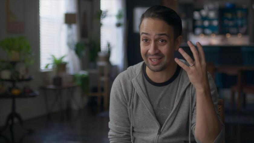 "Lin-Manuel Miranda interviewed in ""We Are Freestyle Love Supreme."""