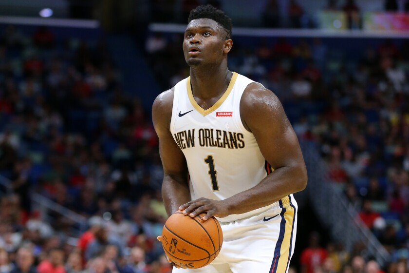 New Orleans Pelicans' Zion Williamson in an Oct. 11 preseason game against the Utah Jazz