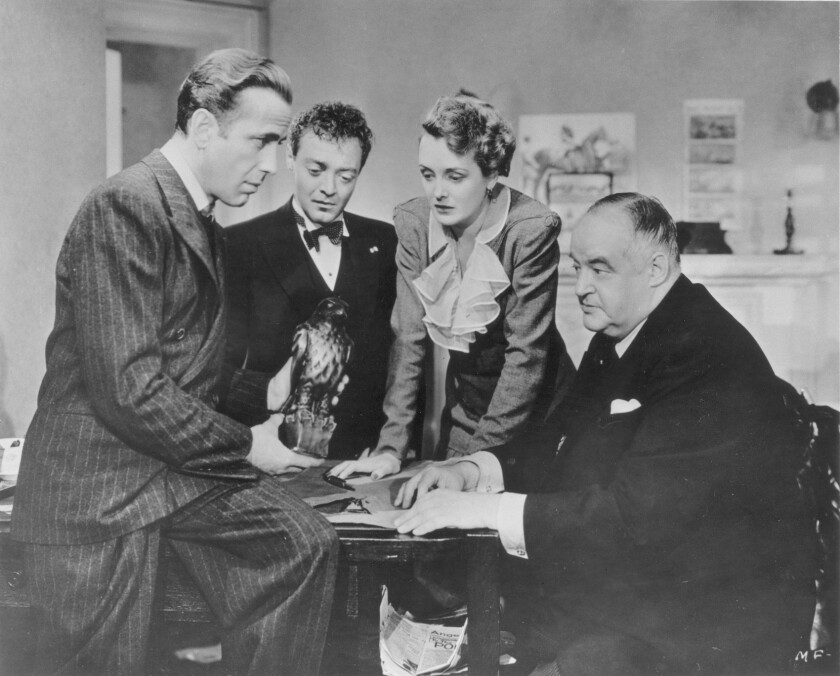 "Humphrey Bogart, Peter Lorre, Mary Astor and Sydney Greenstreet in ""The Maltese Falcon."""