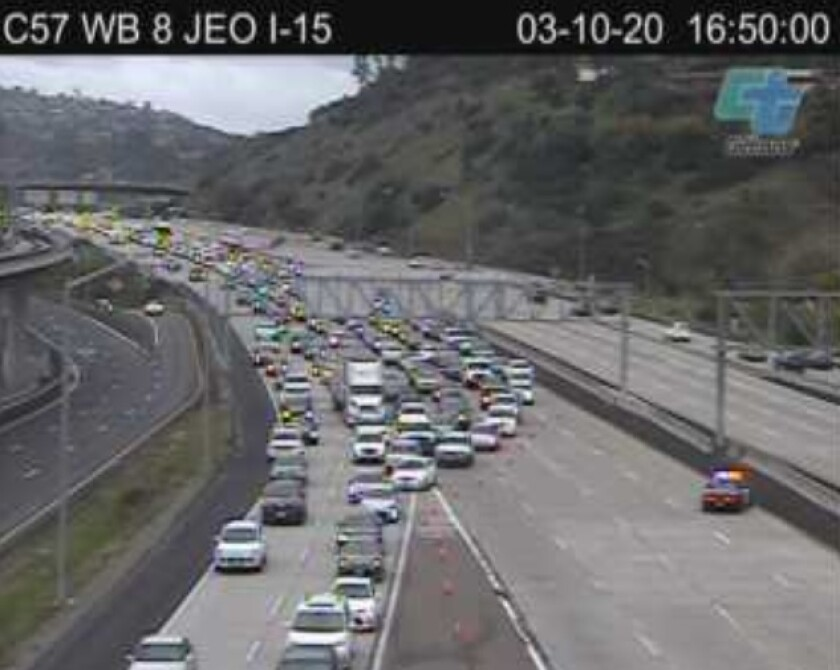 All westbound lanes of I-8 were shut down at Interstate 15 on Tuesday afternoon.