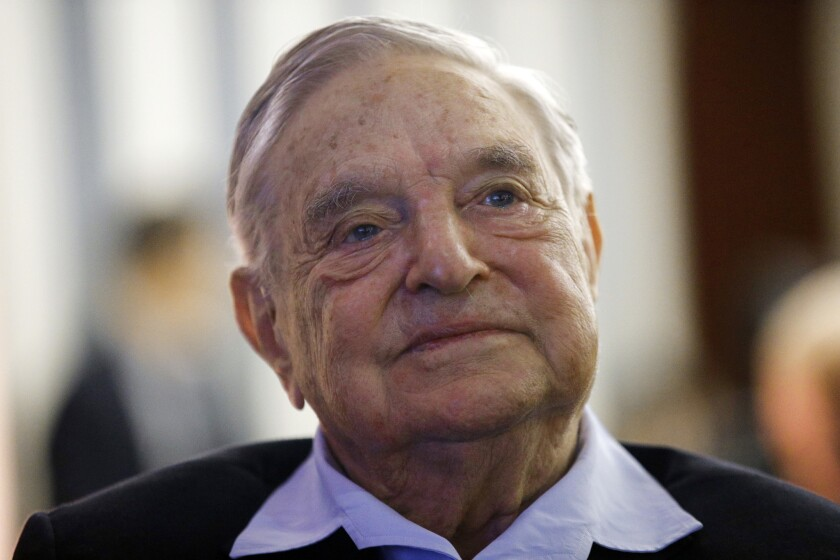 In this May 29, 2018, file photo, philanthropist George Soros, founder and chairman of the Open Society Foundations, is pictured in Paris. The FBI and local police responded to an address near Soros' home after an object that appeared to be an explosive was found in a mailbox.