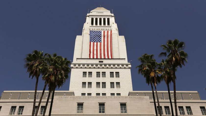 LOS ANGELES, CA – SEPTEMBER 8, 2017: The United States flag is draped on the South Side of Los Ang