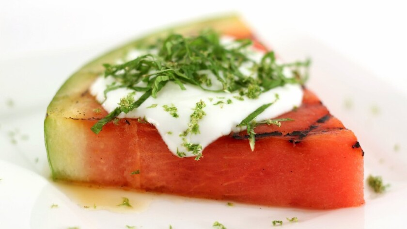Grilled watermelon with mint, lime honey and yogurt