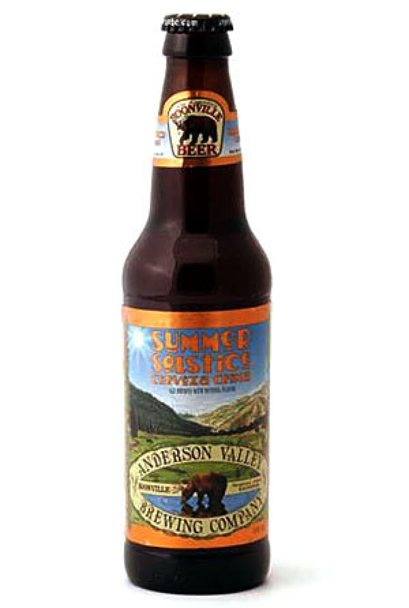 BEER OF THE MONTH: Anderson Valley Summer Solstice Cerveza Crema RECENT & RELATED: Beer gets sour -- so pucker up Pick out a wine with Times restaurant critic S. Irene Virbila Recipes from the L.A. Times Test Kitchen