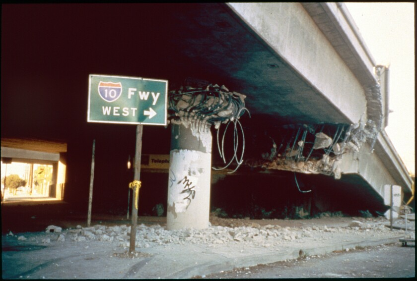 An overpass of the 10 Freeway collapsed at La Cienega Boulevard in the January 1994 Northridge earthquake.