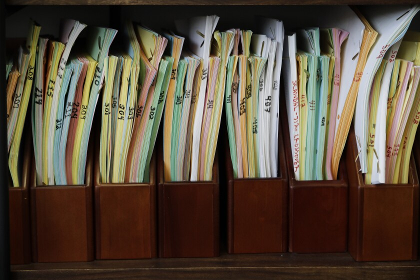 "Pete Nowalk is the creator and showrunner of ABC's ""How to Get Away With Murder."" All of the show's scripts are displayed on a bookshelf in his office."