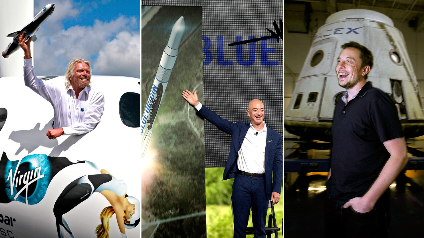 Why space? Battle of billionaires Bezos, Branson and Musk - Los Angeles  Times