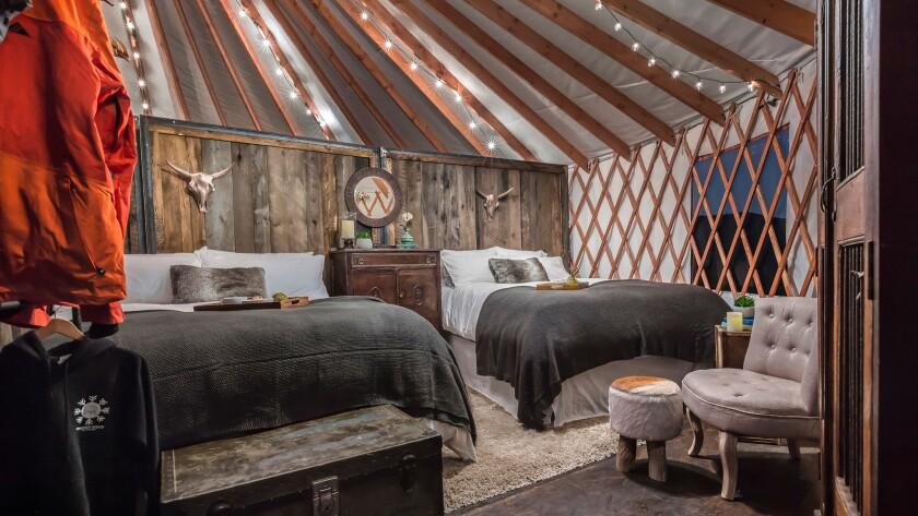 Yurt interiors at Whisper Ridge Cat Skiing in Utah.