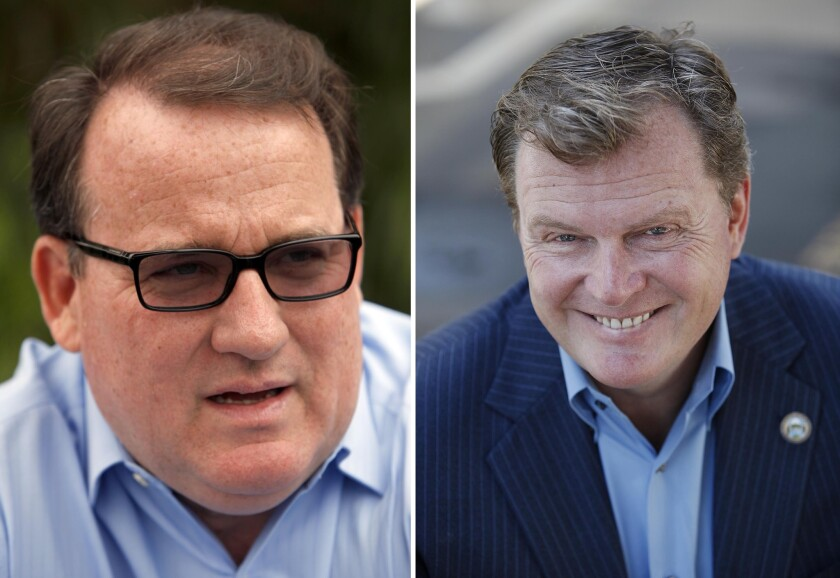 Costa Mesa City Councilmen Jim Righeimer and Steve Mensinger.
