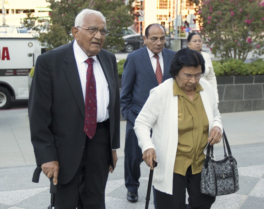 Babulal Bera, the father of Rep. Ami Bera (D-Elk Grove), walks to the federal courthouse in Sacramento for his sentencing for election fraud. Babulal Bera, 83, was sentenced to one year and one day in federal prison.