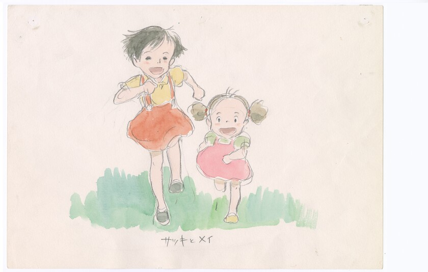 "A drawing of Satsuki and Mei from ""My Neighbor Totoro"" by Hayao Miyazaki."