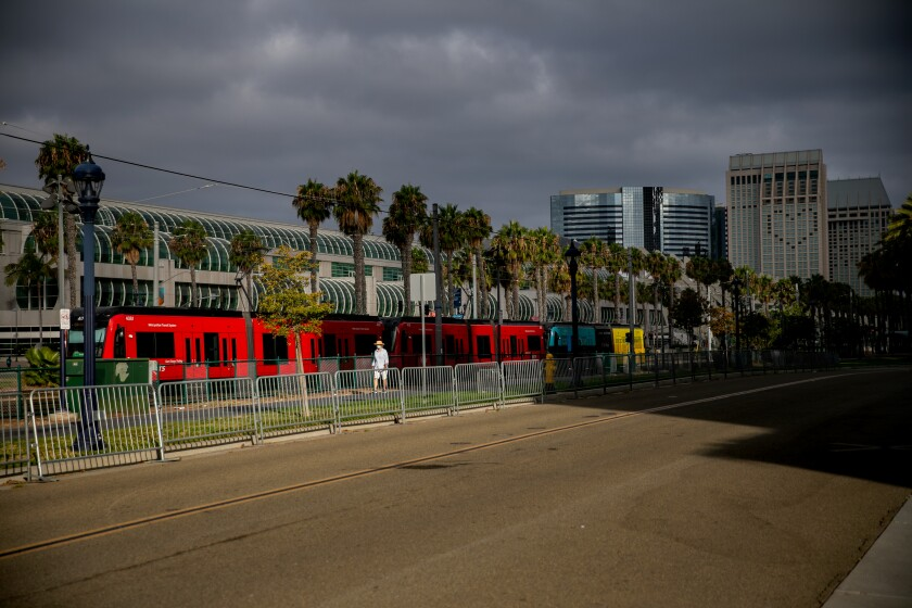 San Diego Metropolitan Transit System trolley cars at 12th and Imperial station.