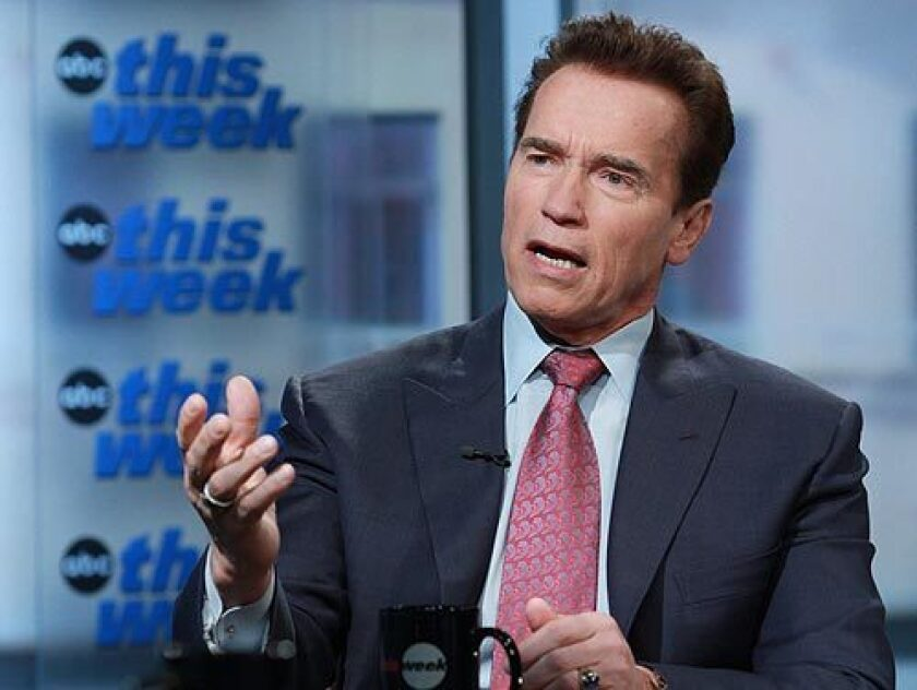 """Gov. Arnold Schwarzenegger, appearing on """"This Week With George Stephanopoulos"""" in Washington, D.C., defended his decision to raise taxes as part of California's $130-billion budget. """"It's very simple. Listen to the people,"""" Schwarzenegger said."""
