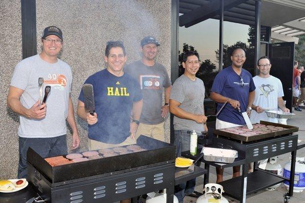 Volunteer Dads Jamie Mason, Lars Carlson, Dan Kyle, Miguel de los Rios, Jamal Gwathney and Jordan Skolnick