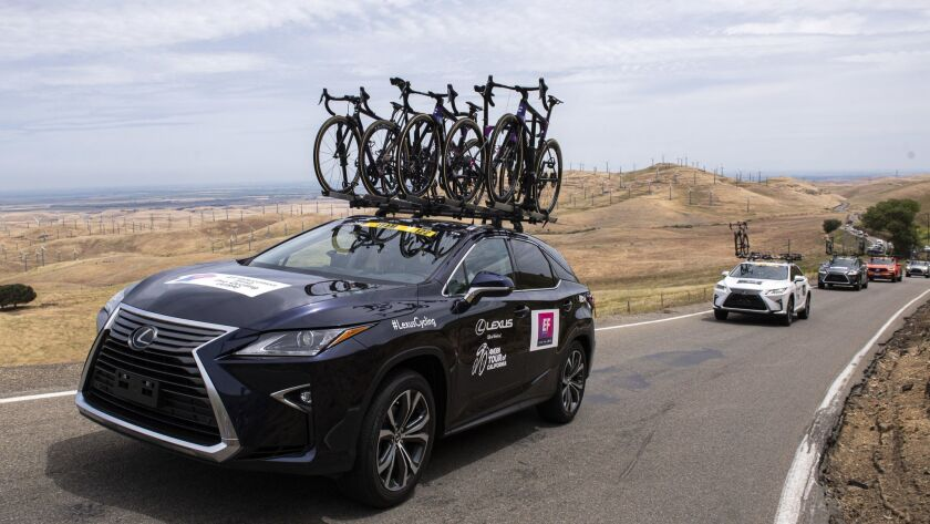 20190514. The Education First team car follows the peloton up Patterson Pass for the Amgen Tour of