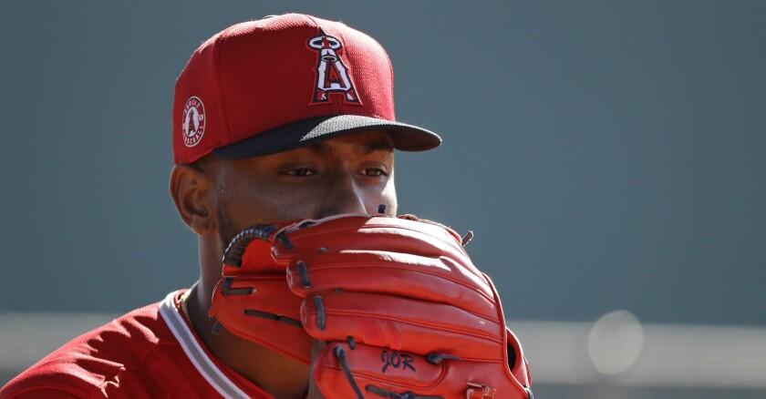 Angels pitcher Julio Teheran is shown at spring training Feb. 12, 2020, in Tempe, Ariz.