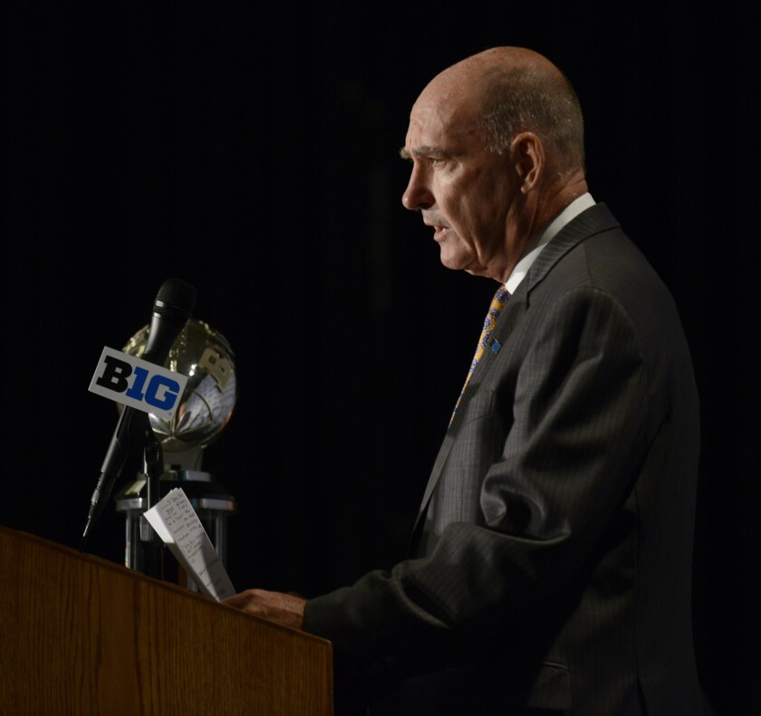 Big Ten commissioner Jim Delany speaks to the media during the Big Ten Football Media Days on Friday.