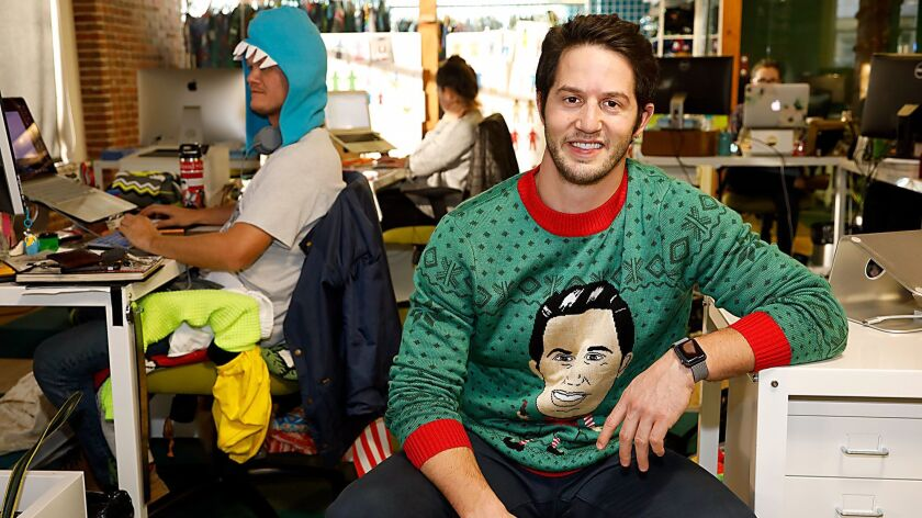 Evan Mendelsohn, wearing his own likeness on a sweater, is the co-founder of Tipsy Elves. Started in 2011, Tipsy Elves has grown its e-commerce ugly sweater business into year-round irreverent clothing company that has done more than $50 million in total sales.