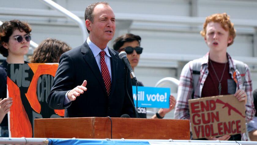 Congressman Adam Schiff speaks at rally against gun violence at Burroughs High School, in Burbank on