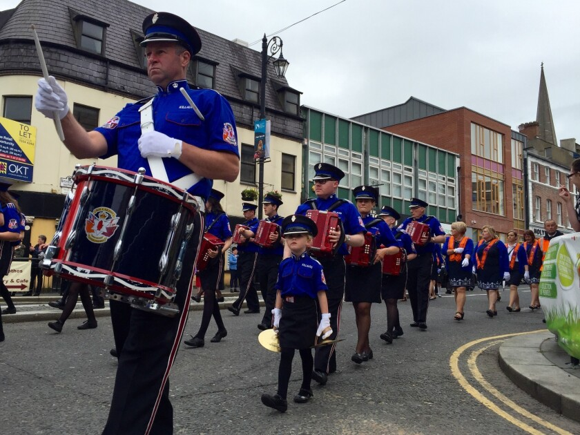 A Protestant marching band parades through Londonderry, Northern Ireland.