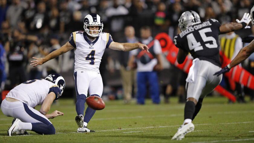 Los Angeles Rams kicker Greg Zuerlein as Oakland Raiders defensive back Dominique Rodgers-Cromartie