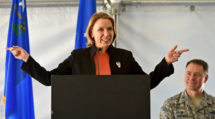 Miranda Ballentine speaks in February at the dedication of the 15-megawatt Solar Array II generating station at Nellis Air Force Base in Las Vegas.