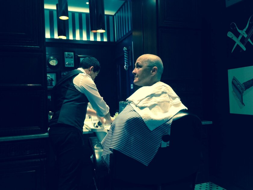 """Deborah Gilmour Smyth of Lamb's Players Theatre gets her head shaved in preparation for the lead role in """"Wit."""""""
