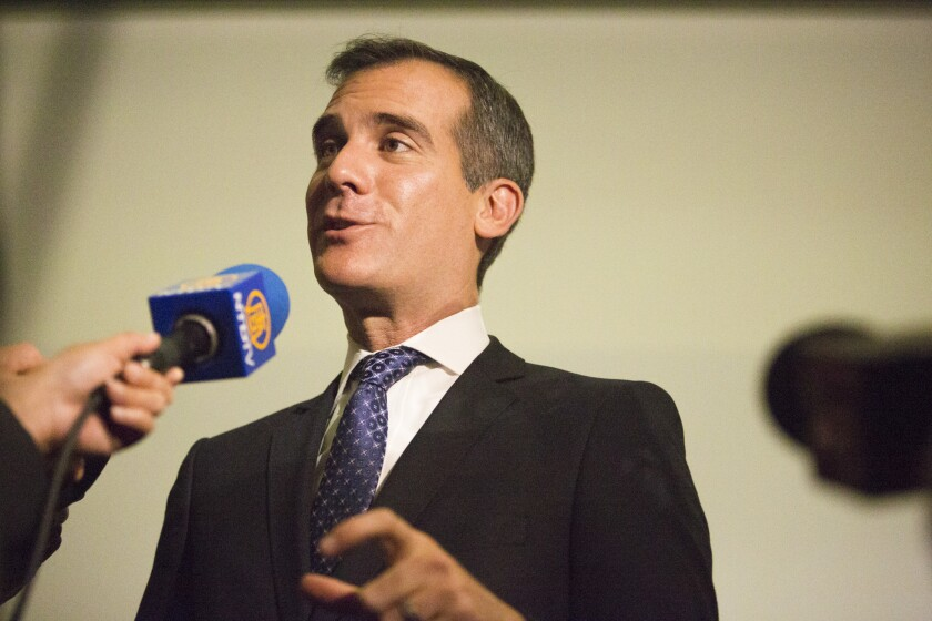 """Los Angeles Mayor Eric Garcetti admits he is """"swinging for the fences"""" with his ambitious to-do list."""