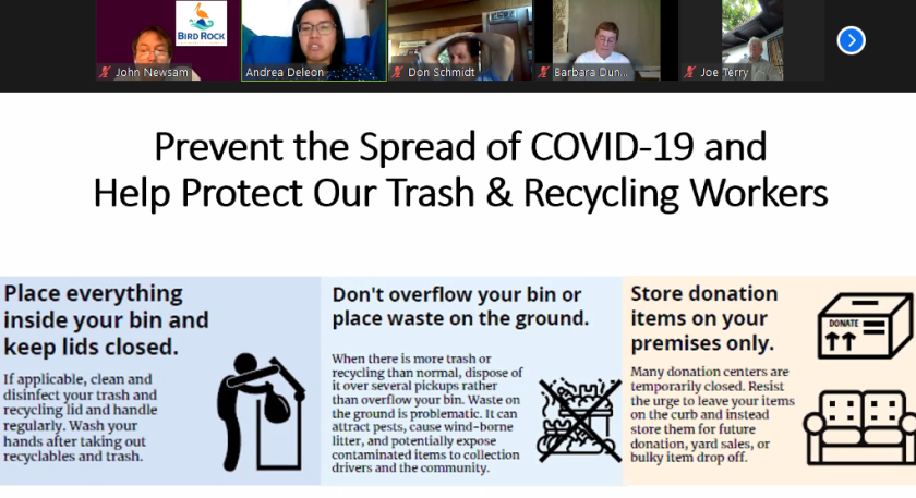 Using the share-screen feature on Zoom, Andrea Deleon shows the Bird Rock Community Council tips for safe trash disposal.