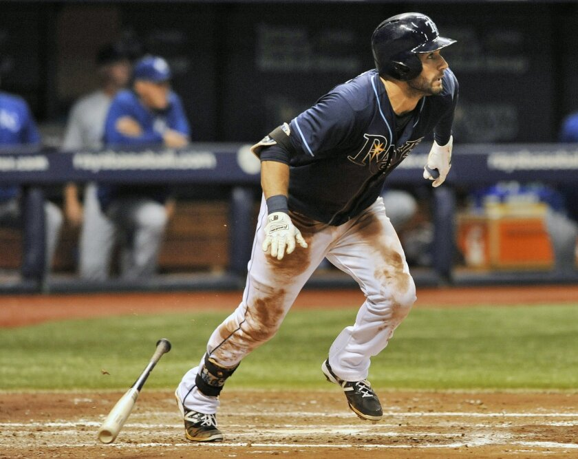 Tampa Bay Rays' Kevin Kiermaier hits a two-run home run off Kansas City Royals starter Kris Medlen during the fourth inning of a baseball game Saturday, Aug. 29, 2015, in St. Petersburg, Fla. (AP Photo/Steve Nesius)