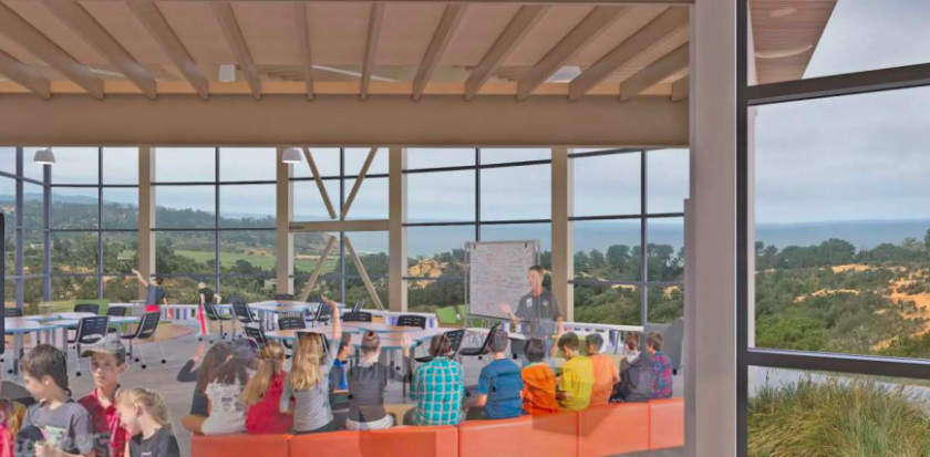 A rendering of the innovation center at the Del Mar Heights campus, which looks out onto the Torrey Pines State Natural Reserve.