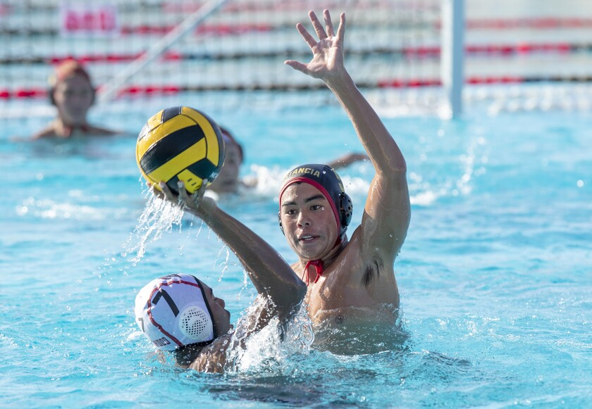 Estancia High's Tyler Humphries led the Eagles boys' water polo team with five goals in Thursday's 19-1 win over Orange.