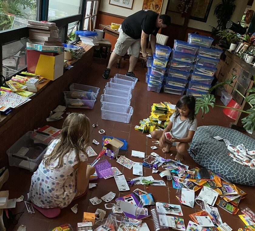 Vista residents Roddy and Aaron Browning and their daughter, Josey, recently held a school supplies fundraising drive.