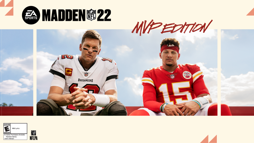 """Tom Brady, left, and Patrick Mahomes appear on the cover of """"Madden NFL 22."""""""