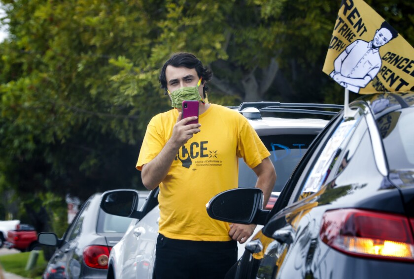 Jose Lopez of Alliance of Californians for Community Empowerment recorded the cars taking part in a protest in La Jolla.
