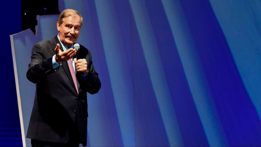 Former Mexican President Vicente Fox delivers a speech during a conference with businessmen in Guatemala City on October 12,2017.
