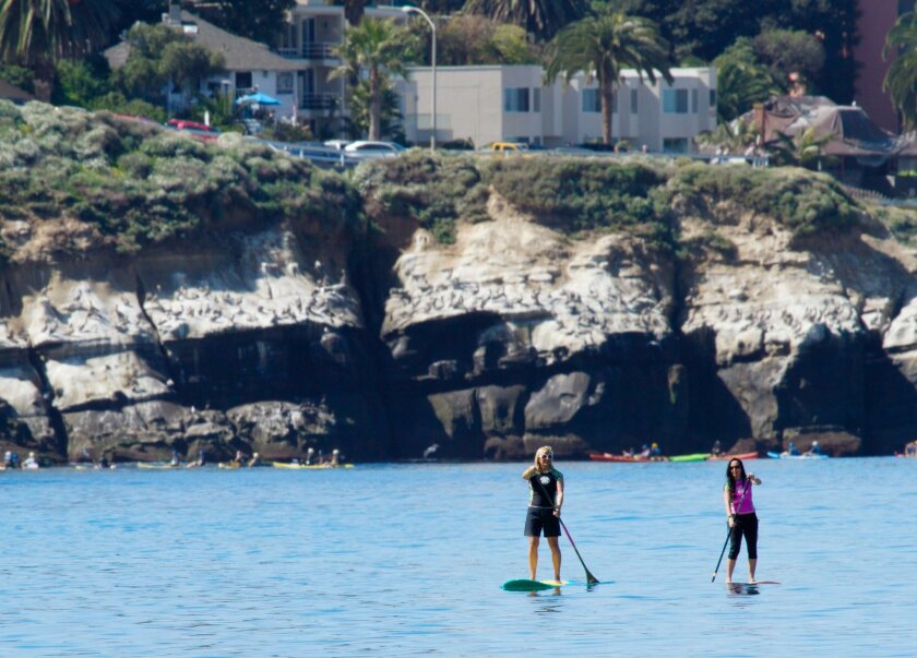 The calm waters of La Jolla Cove make it a perfect spot to practice Stand Up Paddleboarding.