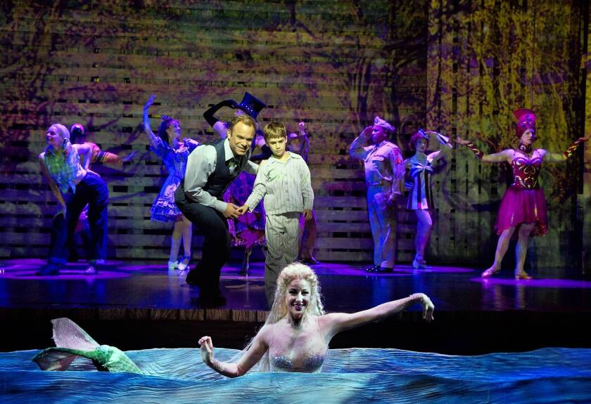 """Norbert Leo Butz, Zachary Unger and Sarrah Strimel in """"Big Fish"""" at the Neil Simon Theatre in New York."""