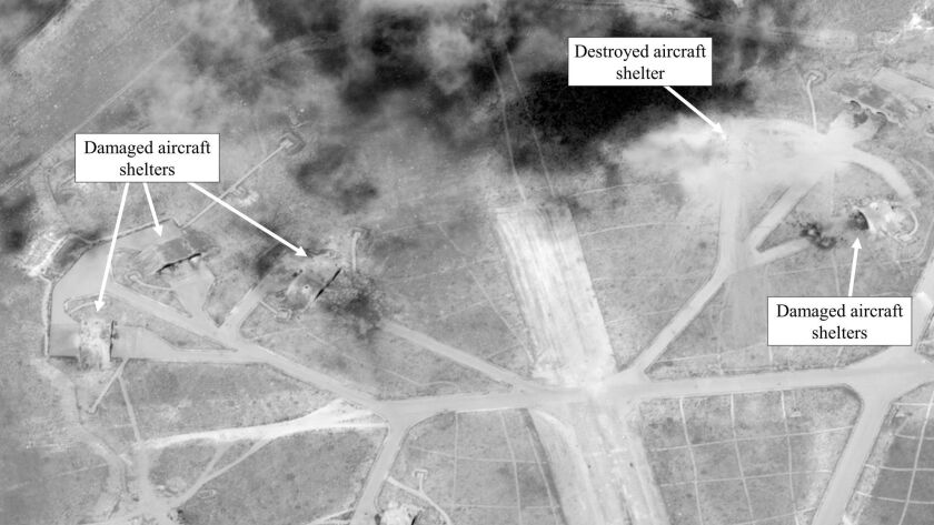 A Defense Department satellite image shows a damage assessment of Shayrat air base in Syria after U.S. Tomahawk missile strikes on April 7.