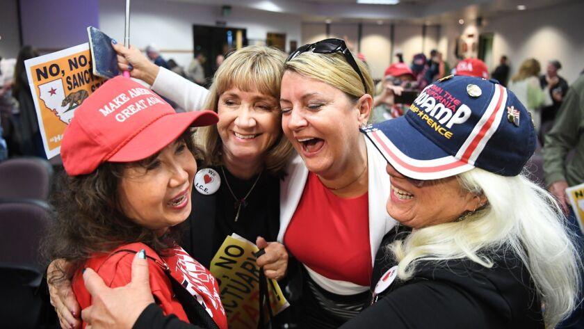 SANTA CLARITA, CALIFORNIA MAY 8, 2018-Women gather in celebration after the Santa Clarita City Counc