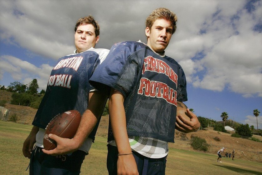 At Christian High School, special teams are a strength for the varsity football team this season thanks to punter Joel Alesi (left) and place-kicker Michael Gruber. Alesi also plays tight end, defensive end and nose guard for the Patriots, while Gruber is a starting catcher for the El Cajon school'