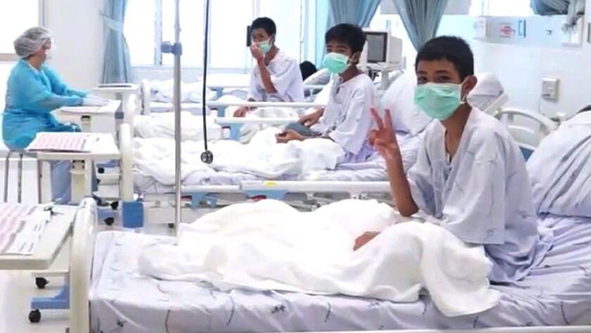 Thai youth soccer team as are being treated at the hospital, Mae Sai, Thailand - 11 Jul 2018
