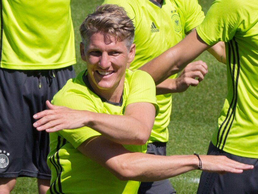 Bastian Schweinsteiger, center, attends the last training session of the German national football team at their base camp in Evian-Les-Bains, France, Wednesday, July 6, 2016. Germany will face France in a Euro 2016 semifinal soccer match in Marseille on Thursday, July 7, 2016 (AP Photo/Cirian Fahey