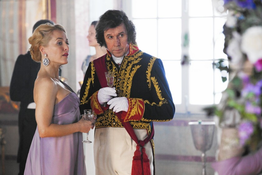 """Gillian Anderson and Stephen Rea in """"War & Peace."""""""