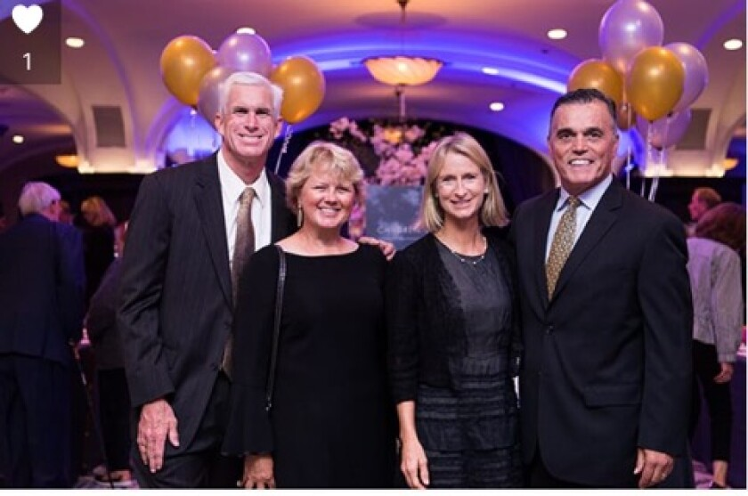 Wife Ashley and Jim O'Hara (on the right) together with Jim and Lu Francis (of Carlsbad) at this year's Father Joe's Villages Annual Children's Gala at the US Grant Hotel on May 4.