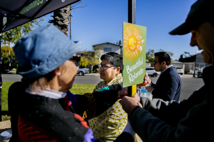 City Council President Georgette Gómez speaks to community members at a Rolando Community Council succulent swap on February 23, 2019 in San Diego, California.