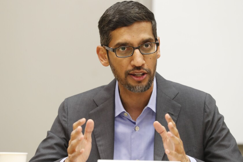 """FILE- In this Oct. 3, 2019 file photo, Google CEO Sundar Pichai speaks during a visit to El Centro College in Dallas. U.S. tech giant Google is investing in a $10 billion fund to help accelerate India's transition to a digital economy in the next five to seven years. Pichai, said Monday that the project will focus on building products that are relevant to India's needs and empowering businesses for their """"digital transformation.""""(AP Photo/LM Otero, File)"""