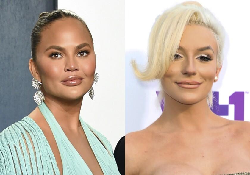 Headshots of two glamorous women