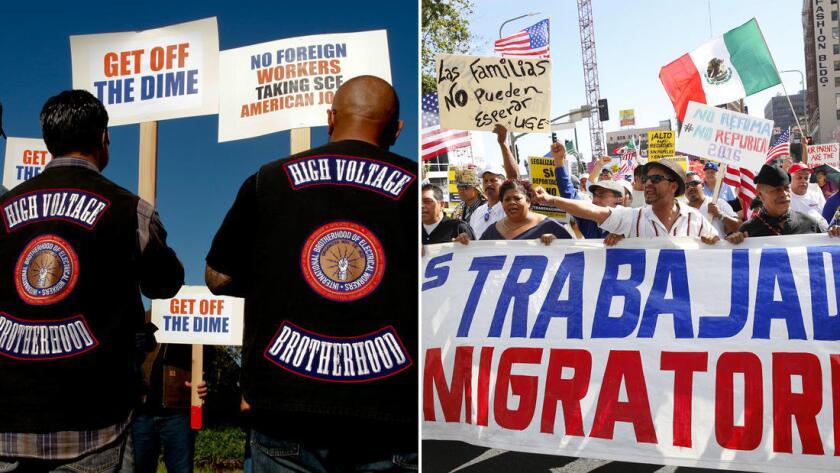Miembros de la Hermandad Internacional de los Trabajadores Eléctricos, a la izquierda, protestan en Irvine en 2015 para oponerse a la contratación externa de empleos de tecnología. A la derecha, una multitud recorre Los Ángeles en 2015 para apoyar la reforma inmigratoria y los salarios más altos.